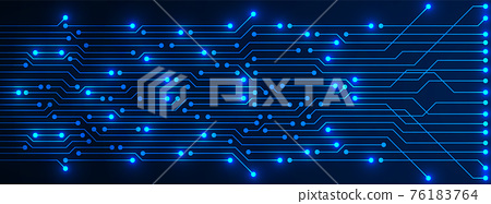 Abstract Technology Background, blue circuit board pattern with electricity light, microchip, power line 76183764