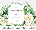 Vector art elegant floral wedding invite, save the date card, greeting template design. Green fern leaves,  eucalyptus branches, light yellow garden roses, white camellia flowers bouquet border, frame 76185445