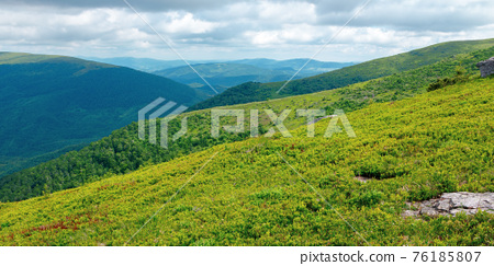 stones on the hill of mountain meadow. beautiful summer landscape with clouds above the horizon 76185807