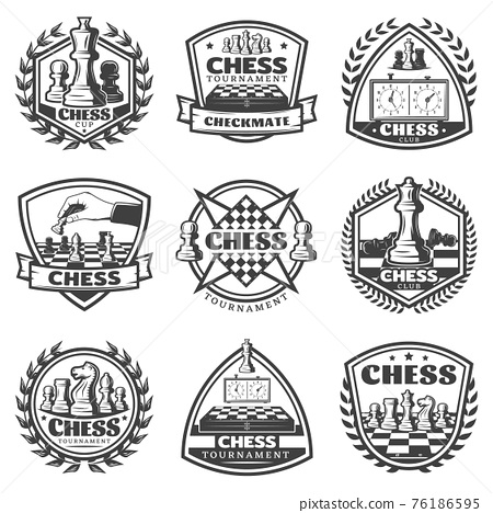 Vintage Monochrome Chess Game Labels Set 76186595