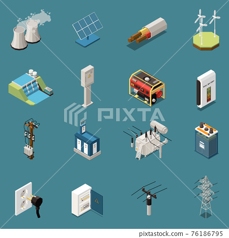 Isometric Electricity Icons Collection 76186795