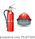 Firefighter Helmet And Extinguisher 76187369