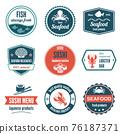 Seafood label set 76187371