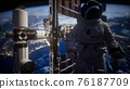 International Space Station and astronaut in outer space over the planet Earth 76187709