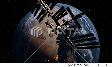 International Space Station in outer space over the planet Earth orbit 76187712