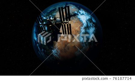 International Space Station in outer space over the planet Earth orbit 76187714