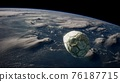 old soccer ball in space on Earth orbit 76187715