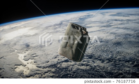 metal vintage and dirty jerrycan on Earth orbit 76187716