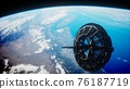 futuristic Space satellite orbiting the earth 76187719