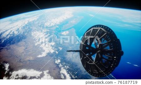 futuristic Space satellite orbiting the earth 76187719