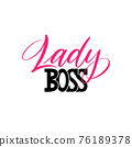 Lady boss a quote. Lettering lady boss as postcard 76189378