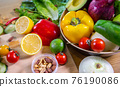 Healthy food clean eating selection: fruit, vegetable, seeds, superfood, leaf vegetable and 76190086