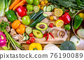 Healthy food clean eating selection: fruit, vegetable, seeds, superfood, leaf vegetable and 76190089