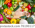 Healthy food clean eating selection: fruit, vegetable, seeds, superfood, leaf vegetable and 76190117