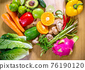 Healthy food clean eating selection: fruit, vegetable, seeds, superfood, leaf vegetable and 76190120