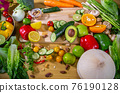 Healthy food clean eating selection: fruit, vegetable, seeds, superfood, leaf vegetable and 76190128