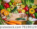 Healthy food clean eating selection: fruit, vegetable, seeds, superfood, leaf vegetable and 76190129