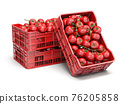 Tomatoes in plastic crates isolated on white. 76205858