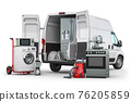 Buying and delivery household appliances concept. Delivery van with kitchen technics isolated on white. 76205859