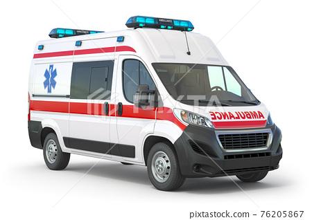Ambulance car isolated on white. 76205867