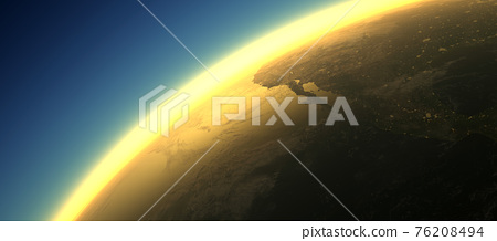 Section of the earth's surface with orange glowing and dense atmosphere to illustrate global warming 76208494