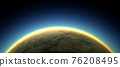 Section of the earth's surface with orange glowing and dense atmosphere to illustrate global warming  76208495