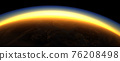 Section of the earth's surface with orange glowing and dense atmosphere to illustrate global warming 76208498
