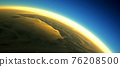 Section of the earth's surface with orange glowing and dense atmosphere to illustrate global warming 76208500