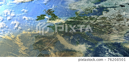 Top view from a heavily clouded Europe 76208501