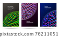 Set of digital banners or posters with bright spheres made of neon curves forming abstract planet illustration, web connection 76211051