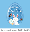 Easter day banners template rabbit with easter eggs paper cut shape background. Vector illustrations 76211443