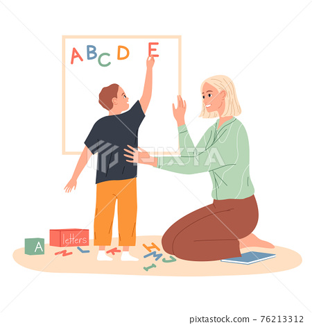 Child makes an English alphabet of letters on the board 76213312