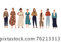Group of young women, girls standing at full height. 76213313