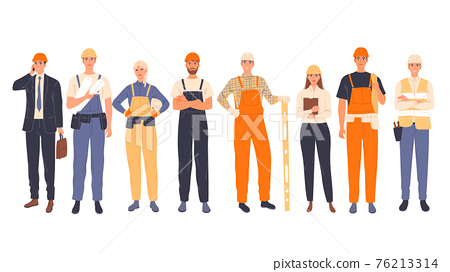 Group of construction workers in uniform, men and women of different specialties chief, engineer, worker 76213314