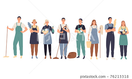 Cleaning service. Male and female cleaners in uniform standing with professional equipment. 76213318