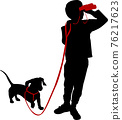boy holding binoculars and his dog silhouette - vector 76217623