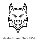Black and white line art of wolf head. Good use for symbol, mascot, icon, avatar, tattoo, T Shirt design, logo or any design you want. 76223854