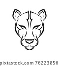 Black and white line art of cougar head. Good use for symbol, mascot, icon, avatar, tattoo, T Shirt design, logo or any design you want. 76223856