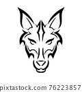 Black and white line art of wolf head. Good use for symbol, mascot, icon, avatar, tattoo, T Shirt design, logo or any design you want. 76223857