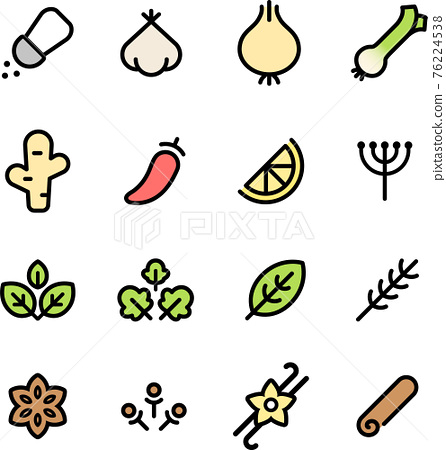 Herbs and spices icons 76224538