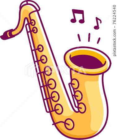 Cartoon saxophone drawing 76224540