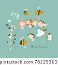 Cute little cartoon fairies sitting on flowers 76225303