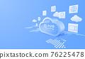 3D digital cloud computing technology background. Online service. vector art illustration 76225478