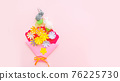 Bunny and craft flowers on pink backround on Easter day. Celebrating Easter at spring. 76225730