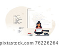 Programmer specialist sitting on big computer screen and working 76226264
