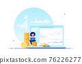 Young woman with laptop against computer screen and stacks of coins 76226277