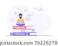 Man with laptop sitting on book stack 76226278