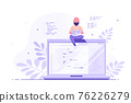 Programmer specialist sitting on the big laptop and working 76226279