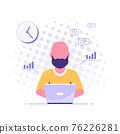 Caucasian man working on laptop, flat design vector 76226281