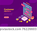 Customer review, evaluation and feedback isometric landing page 76226603